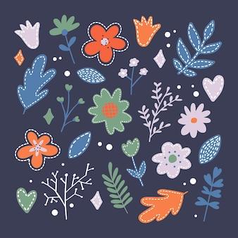 白で隔離のシルエットの平らな春の花アイコンのセット