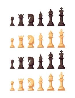 Набор плоских шахматных иконок, изолированных на белом. шахматные фигурки