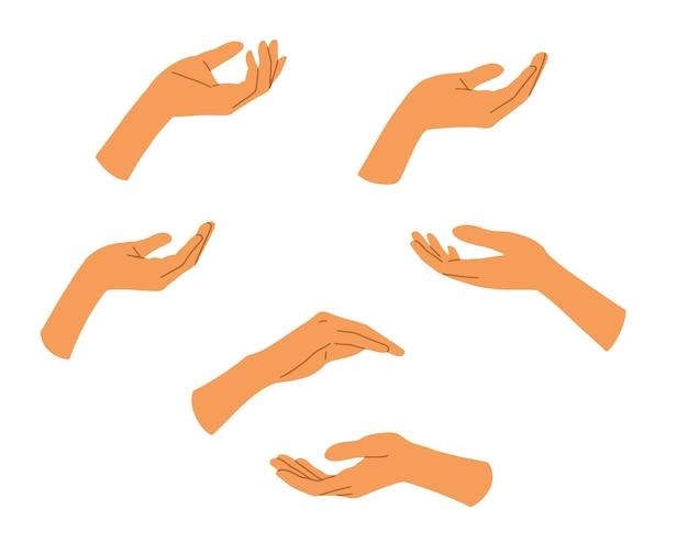 Набор рук плоский стиль, руки элегантной женщины.