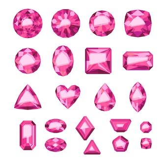 Набор плоских розовых драгоценностей. разноцветные драгоценные камни. рубины на белом фоне.