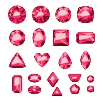 Набор красных драгоценных камней плоский стиль. разноцветные драгоценные камни. рубины на белом фоне.