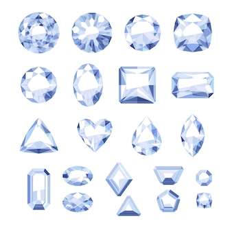 평면 스타일 흰색 보석 세트. 화려한 보석. 흰색 바탕에 다이아몬드입니다.