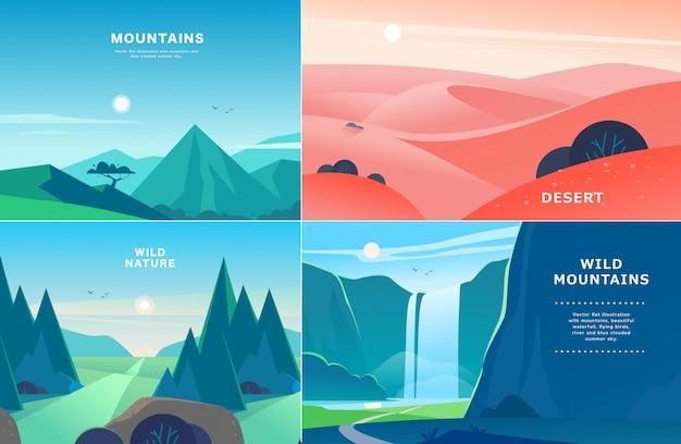 平らな夏の風景イラストのセット
