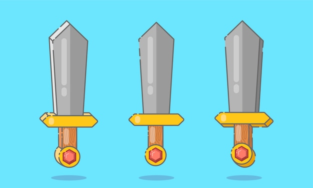 平らな剣や短剣のセット