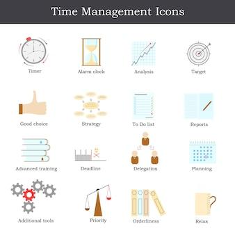 Набор плоских значка «тайм-менеджмент». как добиться успеха в бизнесе. coloful дизайн иконок для вашего бизнеса. векторная иллюстрация.