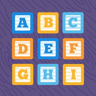 Набор плоских векторных блоков алфавита