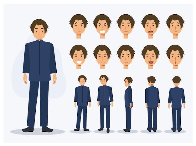 さまざまなビュー、漫画スタイルの制服を着たフラットベクトル文字日本人学生少年のセットです。