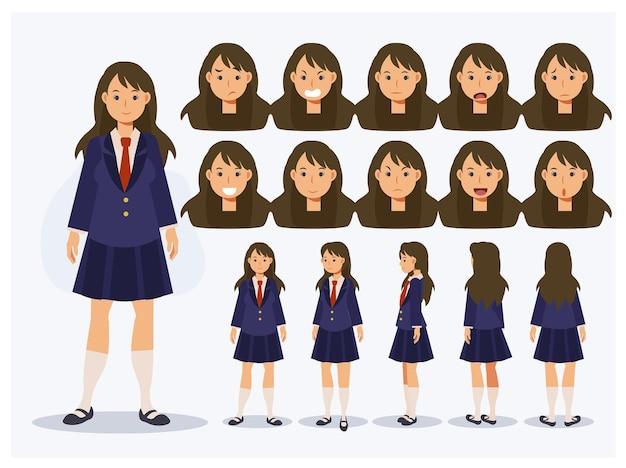 다양한 전망, 만화 스타일을 갖춘 제복을 입은 평면 벡터 캐릭터 일본 학생 소녀의 집합입니다.