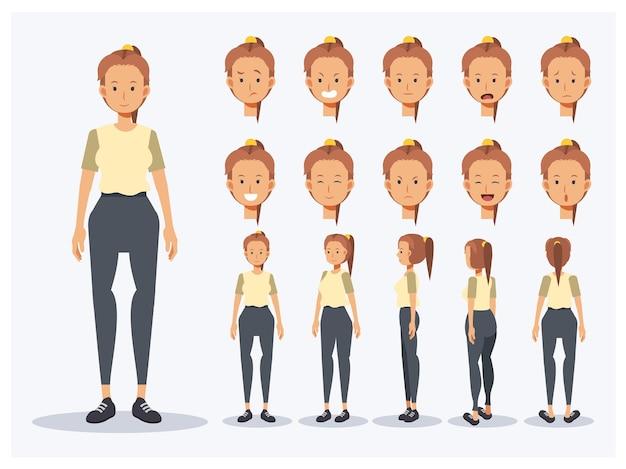 フラットベクトルキャラクターの女性のセットは、さまざまなビュー、漫画のスタイルでカジュアルな服を着ています。