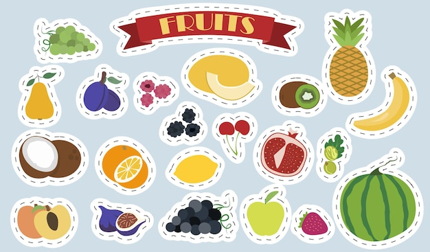평면 벡터 과일과 열매 세트 밝은 스티커 격리된 건강 식품 제품 세트