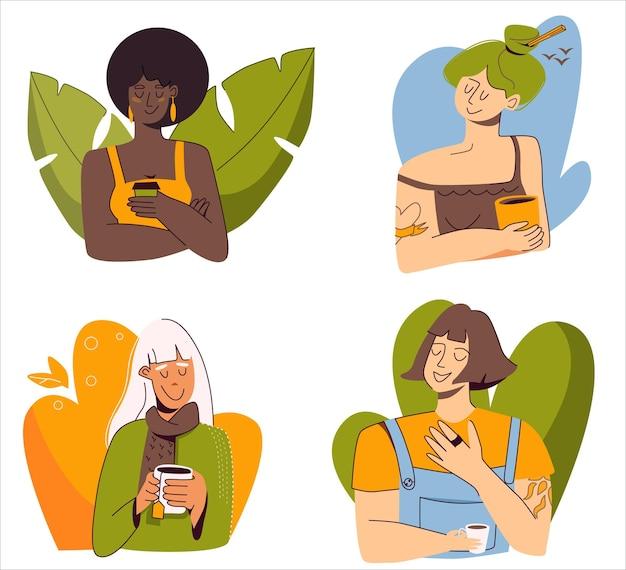 フラットベクトルイラストのセットホットドリンクコーヒーティーホットチョコレートと4人の異なる女性