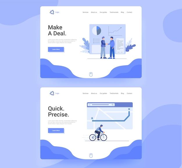 비즈니스 앱, 팀워크, 탐색, 방문 페이지의 플랫 웹 페이지 템플릿 세트