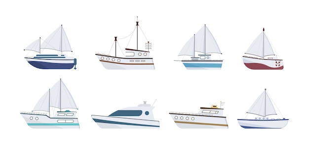 Набор плоской яхты, катера, парохода, парома, рыболовного судна, буксира, прогулочного катера, круизного лайнера. парусник, изолированные на белом фоне. морской корабль. концепция морского транспорта.