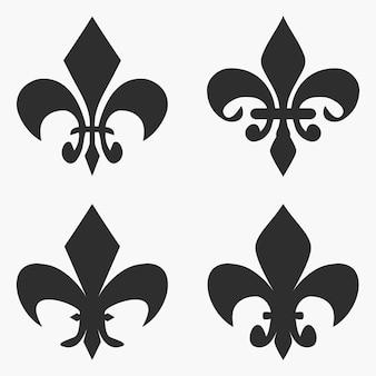 フルールドリスのシンボルのセットです。フランスの紋章ユリ。ベクトルイラスト。