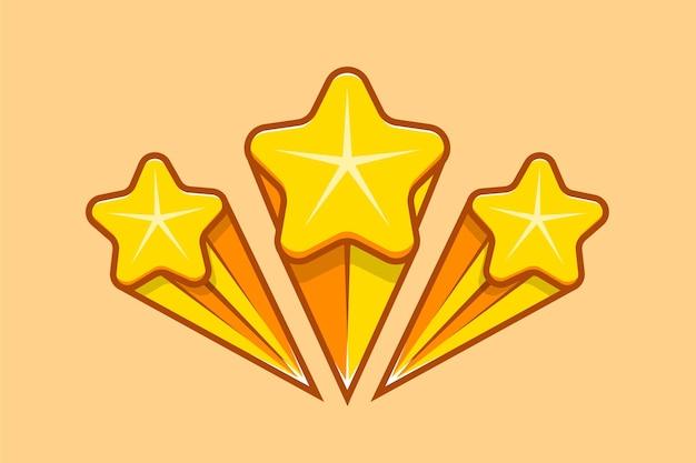 Набор плавающих звездных элементов с изолированной задней плоской иллюстрацией значка