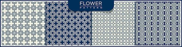 花の抽象的なシームレスラインパターンのセットです。