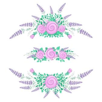 Набор цветочных композиций. стилизованные розы и полевые цветы. летние цветы.