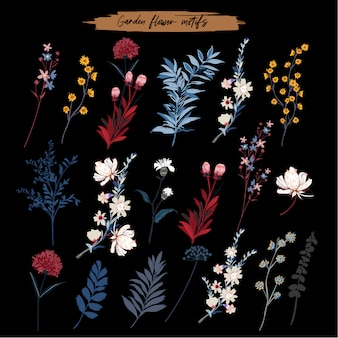 花、植物、庭の花の要素の葉のセットです。