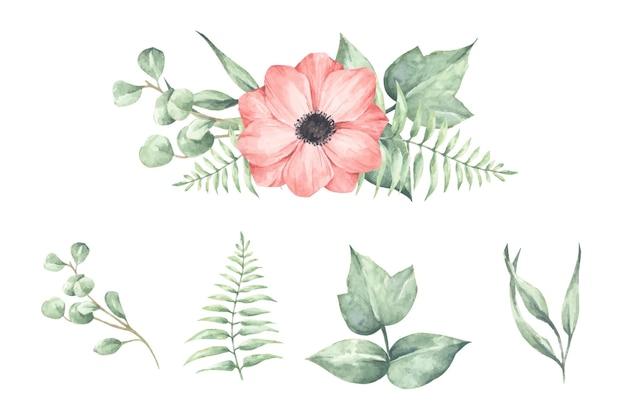 흰색 절연 꽃 지점의 집합