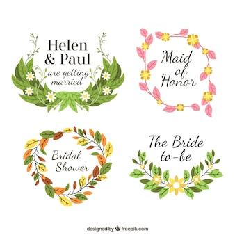 set of floral bridal shower frames in flat design