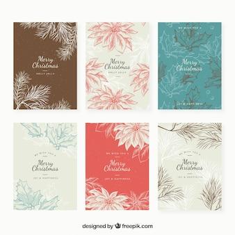 Набор цветочных рождественских открыток