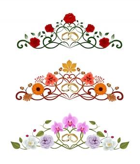 金の結婚指輪と花飾りのセット