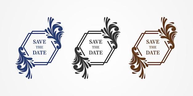Набор цветочных элементов дизайна в сине-сером и золотом изолированы. сохраните баннер элемента даты в сочетании с шестиугольником и этническими цветочными формами