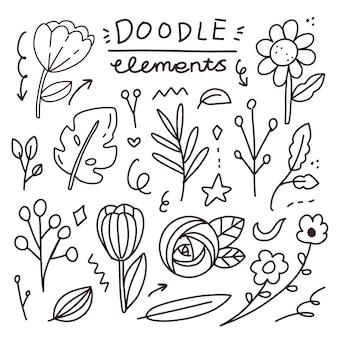 花の落書き要素手描き要素アートのセット