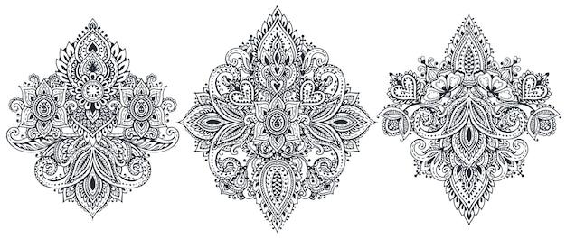 伝統的なアジアの装飾品に基づいた花の要素のセット。ペイズリー一時的な刺青