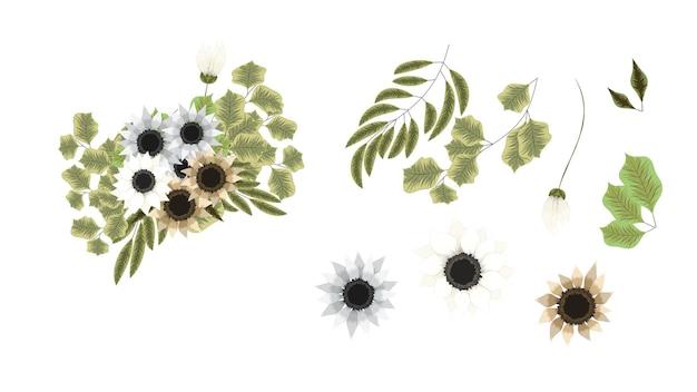 花の要素のセット編集可能なエレガントなガーデンフラワーアレンジメント