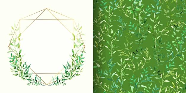 花のフレームと緑水彩花柄シームレスパターンのセット