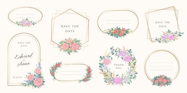 웨딩 모노그램 로고 및 브랜딩 로고 디자인을위한 꽃 프레임 세트