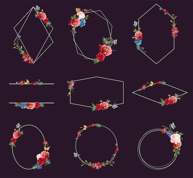 花のフレームイラストのセット