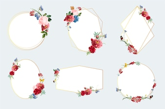 Set of floral frame illustrations