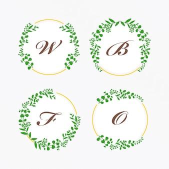 エレガントな緑の葉と花のフレームのセット花のフレームコレクションjpg