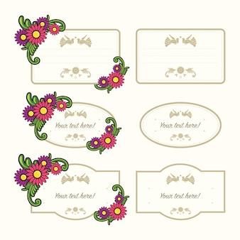白で隔離花ラベルテンプレートのセット