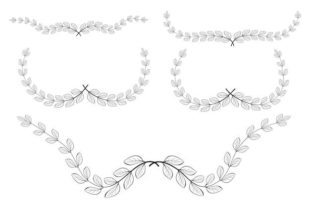 花のセット、月桂樹の花輪のボーダー、あなたのデザイン要素のために、白で隔離