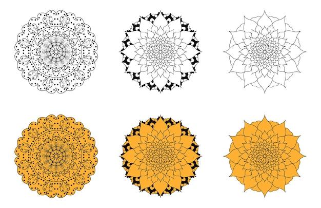 Набор цветочных мандал векторных изображений.