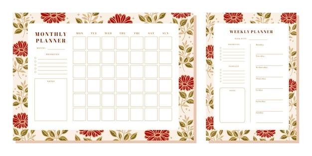 장미와 잎 요소가있는 꽃 월간 및 주간 플래너 세트
