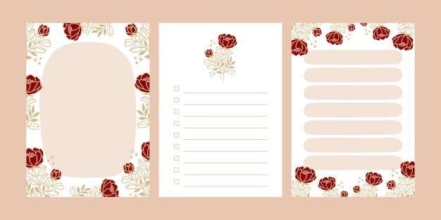 베이지 색에 고립 된 꽃 notepads 세트