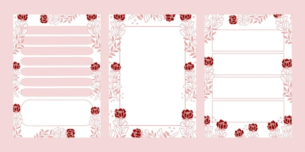 핑크에 고립 된 꽃 notepads 세트