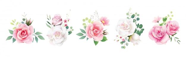 결혼식 초대 또는 인사말 카드에 대 한 꽃 장미 꽃다발의 집합입니다. 프리미엄 벡터