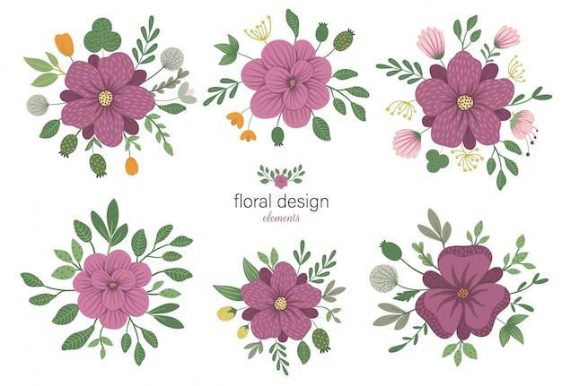 Набор цветочных круглых декоративных элементов. плоские модные иллюстрации с цветами, листьями, ветвями.