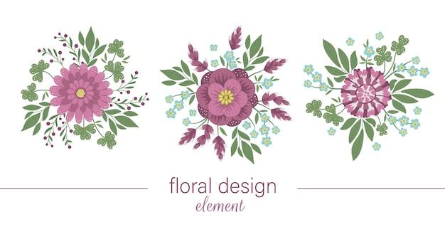 Набор цветочных круглых декоративных элементов