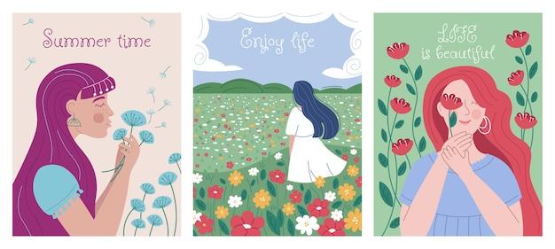 美しい女性と花の夏のポスターのセット