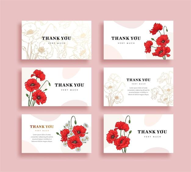 花のお礼状のセット