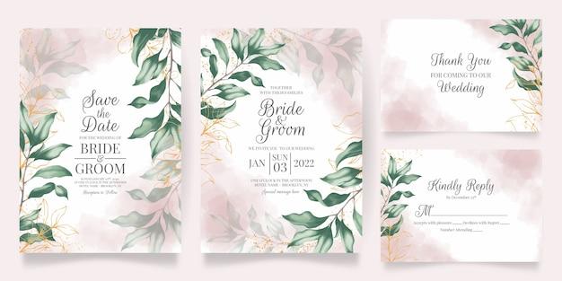 Набор цветочных акварельных свадебных приглашений