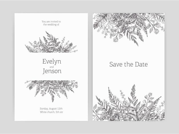 花の結婚式の招待状と白い背景に等高線で描かれた森のシダと野生の草本植物で飾られた日付を保存カードテンプレートのセット。モノクロのベクトル図。