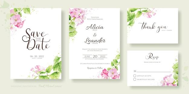 꽃 결혼식 초대 카드 세트, 날짜를 저장, 감사합니다, rsvp 템플릿. 수국, 핑크 꽃과 녹지. 수채화 스타일.
