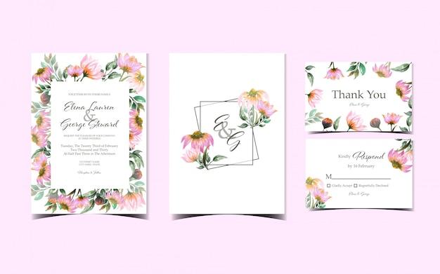 豪華なピンクのデイジーの花の結婚式の招待状コレクションのセット